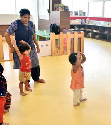 Children having a fun time at the crèche - Candor TechSpace