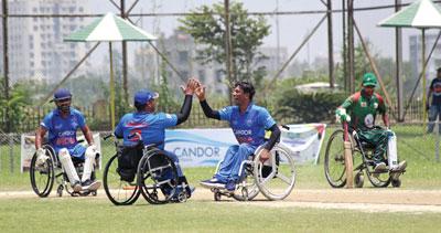 Team bonding during the match