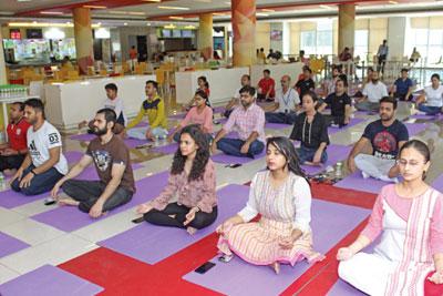 Meditation in Candor TechSpace on International Yoga Day