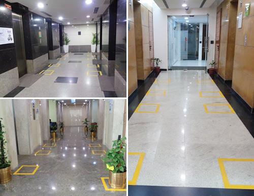 Social Distancing with Floor Markings